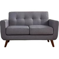 Whether you're gathering the family around for movie night in the den or just kicking back solo as you sip your morning coffee this loveseat makes the perfect perch. Founded atop four slanted legs for a hint of mid-century design influence, its frame is crafted of wood and takes on a classic clean-lined silhouette with curves in all the right places. Foam and spring padding lends comfort to the piece, while solid-hued linen upholstery wrapping around pops thanks to tufting along the back.