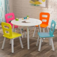 Whether coloring, crafting, doing homework or enjoying a snack, kids will love the KidKraft round Storage Kids 5 Piece Writing Table and Chair Set. The four chairs are perfectly kid-sized and built from sturdy wood and metal. When playtime is done, kids can simply lift the table's center panel, push their craft items and toys into the mesh storage compartment and the table is clean. Little ones love to have a spot of their own, and parents love the understated simplicity of this design that...