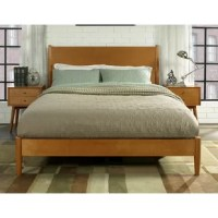 Give your bedroom a modern, mid-century feel with this clean lined bedframe. The solid and manufactured wood frame hints at subtle refinement, without overpowering your current decor. Thanks to the finished back, you can place this bed anywhere in your room. It features a slat kit, crafted with solid pine wood, so a box spring is not required. This frame can accommodate 800 pounds of weight. Full assembly is required upon arrival.
