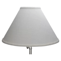 This lamp shade is equipped with a washer fitter, this is the most common fitter type, The washer generally rests on the top of a metal harp above the light bulb and is held in place by a screw-on finial. The outside of the lampshade has a fabric covering. The trim is the same color as the covering.