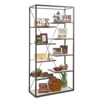 This product, the style is Industrial with a mix of modern. The heavy gauge steel and iron industrial look is offset by 8 sleek modern cantilevered white glass shelves giving this bookcase a sleek, sophisticated look. With all open display and finished 360 degrees around, this versatile piece of furniture can be used as a room divider and utilized in any room of your home. The finish features a hand rubbed and distressed antique brown finish.