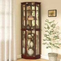 Ready to put the spotlight on your favorite trinkets, fine china, and treasured knickknacks? This corner curio cabinet houses all of that as it saves you space! Crafted from manufactured wood, its classic appearance pairs well with a variety of decor styles, while its distinctive shape lets you easily tuck it into an unused corner. Glass shelves and integrated lights show off your goods to their best advantage, and magnetic catches keep doors securely shut.