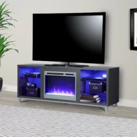 """Step away from the ordinary and give your living room a modern makeover with the Fireplace TV Stand. Don't let the simple look fool you, this stand comes with a 23"""" electric fireplace insert with all the bells and whistles. Ready to warm up a 400 square foot room with the touch of a button, you can relax knowing that timers will take care of the rest. If you want to simply enjoy the look of the flames without the heat use the included remote to switch off the heat option and pick your flame..."""