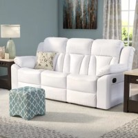 A traditional American design gets a contemporary update in this stylish reclining sofa. Made with faux leather upholstery, this charismatic design features sinuous spring support, plush foam fill, a cushioned back, and pillowtop arms. Convenient buttons located on the sides of the sofa recline the seats and elevate the footrests for a relaxing position in which to watch the big game or catch up on your favorite show. Plus, its neutral finish is versatile enough to blend with nearly any color...