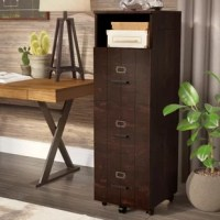 You shouldn't have to choose between effortlessly finding your files and adding an unsightly metal piece of furniture to your well-curated aesthetic! To add organizational appeal and chic style to your ensemble, just pick this lovely file cabinet. An ideal choice for industrial spaces, this design showcases a vintage walnut finish, gold-finished label holders, and a slatted wood-inspired frame. It also features casters feet, three cabinets, and an open shelf for ample storage space and...