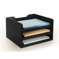 Create your ideal home office with the help of this letter tray kit, a perfect place to stack paper, stationery, files, and other important documents. Crafted from wood, this modular design consists of three separate trays that interlock with others of their kind to create a letter tray all your own. This design measures 8'' H x 13.5'' W x 11.5'' D overall, so it doesn't take up too much space on your desk.