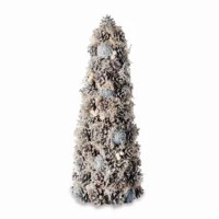 Snow dusted pine cones, natural sprigs and pearl clusters make up this highly-structured Pine Cone and Pearl Desktop Topiary.