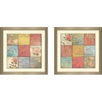 This art set of 2 has a protective glass cover and mounted within a contemporary. When hung side by side, their overall wall coverage is approximately 39