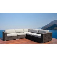 Give everyone a space to kick back and enjoy the outdoors with a sofa like this one! This modular, L-shaped sectional sofa features an aluminum inner frame that's wrapped in resin wicker for a breezy look that's also weather- and water-resistant, making it right at home on your patio or deck. And since foam-filled seat and back cushions are included, you can settle in to its deep seat as soon as it arrives. Best of all, this piece arrives fully assembled for headache-free set up.