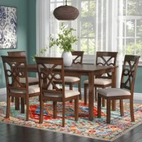 Add an air of sophistication and a touch of traditional appeal to your dining space with this lovely seven-piece dining set. The perfect way to set a classic foundation, this ensemble will effortlessly update your look. The clean-lined table and neutral-toned seat cushions adds versatility to this set, while the scrolling trellis-inspired chair back designs and wood grain details elevate the look with traditional flair. Try setting these pieces together in your dining room for a fresh new look...