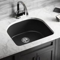 The sink comes in many different shades, all of which have the same exciting features; not the least of which is its composition. A balance of 80% quartz and 20% acrylic, makes for a very dense, nearly impervious substance with a smooth non-porous finish that provides the sink with anti-bacterial properties. It is nearly impossible to scratch or stain because of its density, and it can withstand extreme temperatures - a dropped knife will not scratch, acidic foods will not stain, and hot pots...