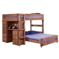 Perfect for shared bedrooms or accommodating guests during sleepovers, this bunk bed frame measures 62'' H x 80'' W x 80'' D and holds two full-size mattresses (no box springs needed). Its built-in ladder makes climbing in and out of bed fun and easy, and guardrails ensure your young ones stay safe while they slumber. Made in the USA from solid wood, it features an attention-grabbing mahogany finish. Plus, it easily converts into two twin beds to suit the needs of your space.