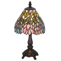 Stylized Wangaratta flower clusters of pink, grape wattages and amethyst blue flowers with jade green leaves drape over this ivory toned graceful copper foiled mini lamp shade. The classic styling of this stained glass fixture and soft pastel colors will add charm to any room.