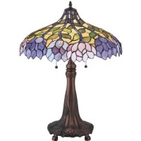 Stylized Wangaratta flower clusters of china pink, grape and amethyst blue with jade green leaves drape over this Ivory toned graceful copper table lamp shade. Classic styling of this Tiffany styling includes stained glass and soft pastel colors to add charm to any room.