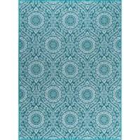 Arouse the senses with this transitional medallion design area rug. The geometric pattern is fashioned of traditional motifs printed in harmony. Power loom, machine made of looped nylon yarn to be durable and affordable. Non-skid backing keeps it from sliding on wood, laminate, polished concrete, and tile floors, making this ideal for the kitchen, entryway, bathroom or family room.