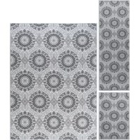 Arouse the senses with this transitional medallion Corrina Geometric Ivory Area Rug Set. Geometric pattern is fashioned of traditional motifs printed in harmony. Power loom, machine made of looped nylon yarn to be durable and affordable. Non-skid backing keeps it from sliding on wood, laminate, polished concrete and tile floors, making this ideal for the kitchen, entryway, bathroom or family room.