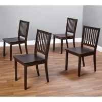 Equally, at home in classic and contemporary arrangements, this set of four dining chairs is a welcome addition to any entertainment ensemble. Crafted from solid rubberwood and manufactured wood, each piece showcases a clean-lined silhouette with open slats along the mission-style back. A neutral stain helps this set blend with a variety of color palettes and aesthetics. After assembly, each chair has the capacity to support up to 250 lbs.