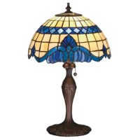 Regal scrolls of royal blue with coordinating diamonds, adorn this handsome Tiffany style, stained glass shade.