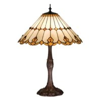 Honey flourishes and amber jewels accent this handsome beige cone shaded lamp shade. This shade is created from stained art glass and uses the copper foil method of construction. The beautiful shade is paired with an elegantly detailed table lamp base hand finished in mahogany bronze.