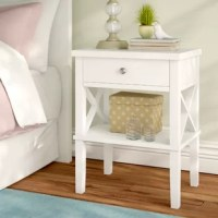 Keep your bedside simple and stylish and with this versatile one-drawer nightstand. Made from solid and manufactured woods, this transitional design showcases simple moldings, X-brace openwork sides, and four tapered square legs. An open lower shelf provides a perfect platform for a framed family photo, a box of tissues, or your favorite bedtime read, while the full-extension drawer offers plenty of space for you to stow away a book light, tablet, and your spare pair of reading glasses....
