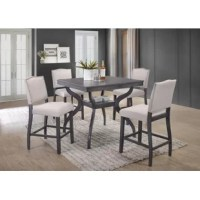 Counter height usually means casual, but this five-piece dining set is stylish enough for upscale dinner parties and festive family feasts alike. Crafted from solid and manufactured wood, each piece's frame features curved legs and a light gray finish for a touch of rustic charm. Each stool includes a seat wrapped in beige-hued linen upholstery, while nailhead trim emboldens the backs. The table measures 40'' square and stands 36'' tall.