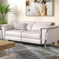 Baccus Genuine Leather Reclining Loveseat