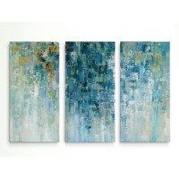 Bring a burst of abstract art to your walls with this modern painting print. Inspired by a romantic rainy day, this piece showcases broad brushstrokes in cool hues of blue, white, gray, and gold. Made in the USA, each piece is premium giclee printed on artist-grade canvas using high-quality inks, then professionally stretched and gallery-wrapped over a solid wood stretcher bar frame. This tryptic arrives fully assembled and ready to hang right out of the box with sawtooth hanger hardware...