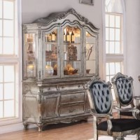 Designed exclusively, this Wensley Lighted China Cabinet is filled with romantic wonder. This cabinet is perfect for any formal dining room.