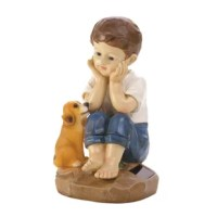 This sweet boy and his furry best friend will add charm and nighttime glow to your yard or garden. This sweet statue features a young boy pondering life's mysteries with his faithful pup by his side. The solar panel on the base soaks up the sun's rays and makes this charming statue glow at night.