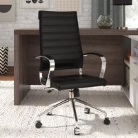Designed for the contemporary office, this dapper desk chair wraps up all the modern amenities you've come to expect into a handsome package. Upholstered in channel-tufted vinyl upholstery, the padded chair showcases an ergonomically-designed backrest and a gently contoured seat, while two fixed arms encourage a 90° wrist angle for proper typing posture. Featuring a 250 lbs. weight capacity, the chrome-plated aluminum base is fitted with five dual-wheel casters for effortless mobility, while...