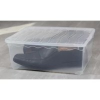 These sturdy, yet lightweight boxes are perfect for storing and organizing your clothing, shoes and accessories, craft and hobby items, office supplies, and more. The storage box features a see-through base that allows contents to be easily identified. The lid snaps firmly onto the base to keep contents contained and secure.