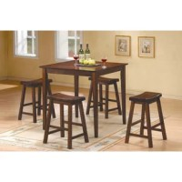 Looking to add a dining ensemble to space, but can't sacrifice too much square footage? A pub dining set like this is a great option for adding a dining area to your space without taking up too much square footage. This five-piece set includes four stools and a table, all crafted from rubberwood with veneers in a rustic-inspired style. The backless saddle stools can be pulled up directly beneath the table for an additional handy space-saving touch.