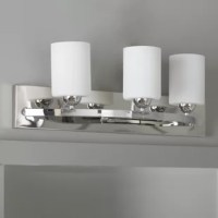 Add a simplistic charm to your bathroom decor with the Vanity Light. Its frame is designed to support three cylindrical-shaped shades that have a burnished white finish and are made from high-quality materials. It can accommodate three incandescent bulbs of 100 Watts. This vanity light can be mounted on the wall with the help of simple assembly.