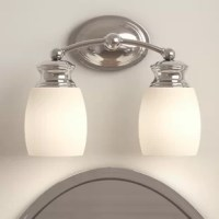 Lend a splash of understated style to your powder room ensemble with this simplistic two-light vanity light. Crafted of metal and listed for damp locations, this fixture spans just 12.25