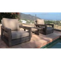 Yandell 3 Piece Teak Conversation Set with Sunbrella Cushions weathered gray finish. Sunbrella cushion in fabric color of your choice. Heavy dusty commercial construction.