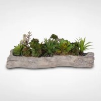 This lovely, rustic faux Artificial Desktop Succulents Plant would be ideal in a casual atmosphere to lend natural beauty to your surroundings. Vibrant succulents are seated on a log as a cool container. The whole look has an urban and contemporary feel that would be great in a modern or traditional setting for visual interest. Show off your great taste and up your style quotient with this striking faux floral arrangement that would be perfect on a cocktail table, dining table or coffee table...