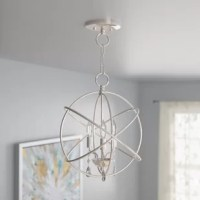 Offering artful appeal and a touch of glamour, this eye-catching chandelier light is sure to collect compliments in any room. Crafted from steel, this fixture features an openwork shade comprised of overlapping rings for a contemporary look. Three 60 W candelabra-base bulbs (not included) sit exposed within to cast a warm glow over your space, while clear crystal accents below complete the design with a subtle shimmer. The manufacturer backs this product with a one-year warranty. Assembly and...