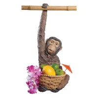 Though he's sure to add a bit of tropical fun to your next luau or garden gathering, our exotic monkey sculpture is also good at just hanging around! Guests will go ape over this imaginative statue who whimsically hangs from a tree limb or bar in a foot and a half of hand-painted, quality designer resin. Another Toscano-exclusive sculpture! Fill his basket with your own fruit and flowers, items in basket not included.