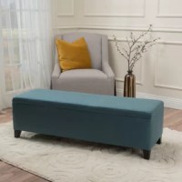 Equally ideal for style and storage space, this beautiful bedroom bench is an entryway essential! Center it on a blank wall across from the front door so guests can have a seat while they kick off their shoes, then flesh out space with a flat-woven rug on the floor below, dot the surrounding walls with abstract art prints, and string up a single polished pendant. Founded upon four tapered feet finished in brown, its clean-lined wood frame is wrapped in polyester upholstery with a solid hue. No...