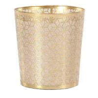 Get your clutter under control with this round, metallic gold metal waste basket, featuring pierced metal diamond and parallelogram shapes with lines all the way around that form an eclectic geometric pattern. The small size will fit under your desk, vanity, or snugly in your bathroom. Who knew garbage could look so glam?