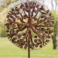 This Tree of Life Spinner is mother nature-approved and full of leafy beauty. The elegant leaf-accented rotors form a pleasing circular shape that moves in the wind just like tree branches. Sweet songbirds perch in the metal spinner's boughs for additional natural appeal. Just place this kinetic art in a breezy area and watch it come to life! Elegant copper-colored finish will look classic with any outdoor décor. Year-round outdoor use.