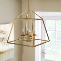 Create a glowing ambiance in any ensemble with this lovely foyer chandelier, the perfect pick for your well-curated and on-trend ensemble. Featuring an openwork, geometric design hung from a slim chain, this Chandeliers brings a low-key, understated touch to your space. Hang it up in the entryway to let its four candle-inspired lights shine down as guests enter in for your next dinner party, or station it up in the master suite to find just the right light in your restful nest. Leaning into a...