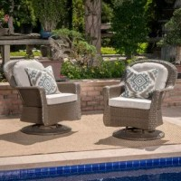 This club chair is a must-have addition to your outdoor seating ensemble. Crafted from an iron frame, its finished with water-resistant resin wicker to give you ease of mind during drizzles. Its set on a swivel to facilitate easy conversation, allow guests to watch their kids in the pool, or admire your landscaping. Its water-resistant polyester cushions add comfort while you're relaxing. Plus, it arrives in a set of two!