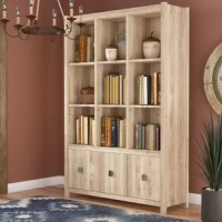 Corral clutter in the entryway or organize the office in understated style with this clean-lined cube unit bookcase. Nine open cubbies provide a spot to show off framed photos, books, or a stack of supplies, while three one-door cabinets down below offer concealed storage for odds and end's you'd prefer to tuck away. Made in the USA from manufactured wood, this piece strikes a sizable silhouette. A versatile finish rounds out the design, enhancing its approachable and natural look. Assembly...