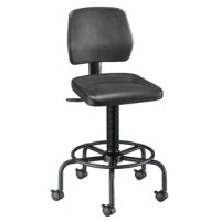 An extremely rugged and stable polyurethane Drafting Chair on a traditional American-style base, this model has a durable seat and backrest built to withstand heavy use in rigorous work environments. Ideal for extended sitting periods. Will resist punctures, water, and most chemicals. Features include pneumatic height control, a height- and depth-adjustable hinged backrest, and a black powder-coated tubular steel base with built-in foot ring.