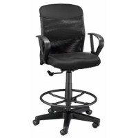 This drafting chair is distinguishable mainly by its extra height. It comes complete with armrests and a 21'' black foot ring. The extra-thick molded foam seat cushion. The vented mesh backrest is depth adjustable. Padded lumbar support can be adjusted up and down for comfort. This model is a drafting height chair and has no tilt or rock function.