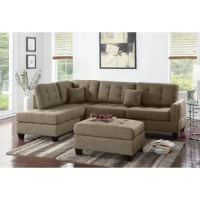 A chic design of fashionable flare is delivered with Romulus Sectional with Ottoman covered in a smooth but functional fabric. The lower portion is trimmed with nickel finished studs and the seating is of pure, plush comfort. This platform framed sectional also features short wooden legs, accent stitching and a matching ottoman.