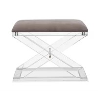 Upholstered in plush gray velvet and topping an acrylic x-base, the Asher Stool is as chic as it is luxurious.