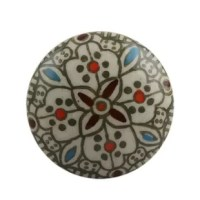 Flat Floral Ceramic Drawer Round Knob with a medley of colors. The knob features an intricate floral pattern in green with hints of blue and red.