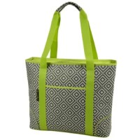 Extra large thermal shield insulated cooler bag from our diamond collection, has a waterproof food safe PEVA lining and is perfect for picnics, outdoor events and trips to the market. Top zips fully closed, has front pocket and comfortable shoulder straps for easy carrying.